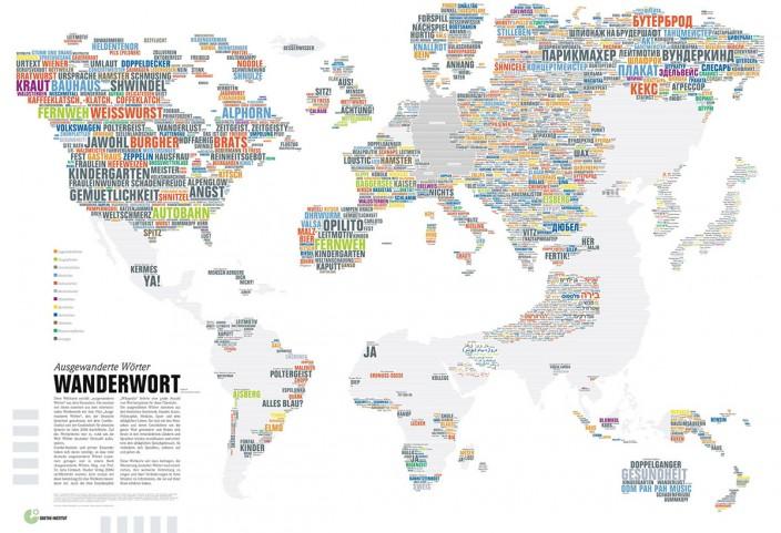 Карта распространения немецких слов