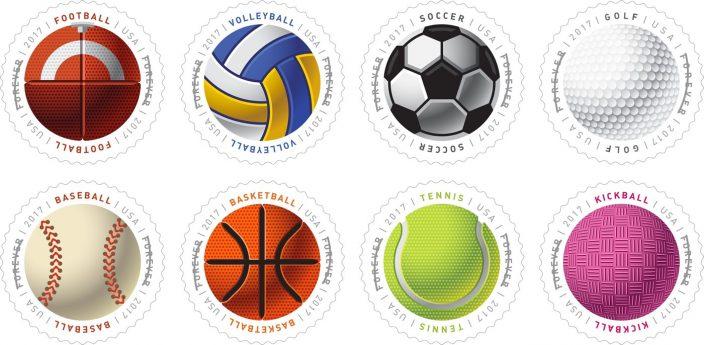 8 мячей: почта США выпустила круглые спортивные марки