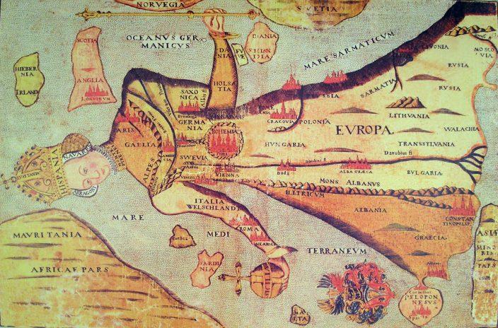 Карта Европы в виде королевы